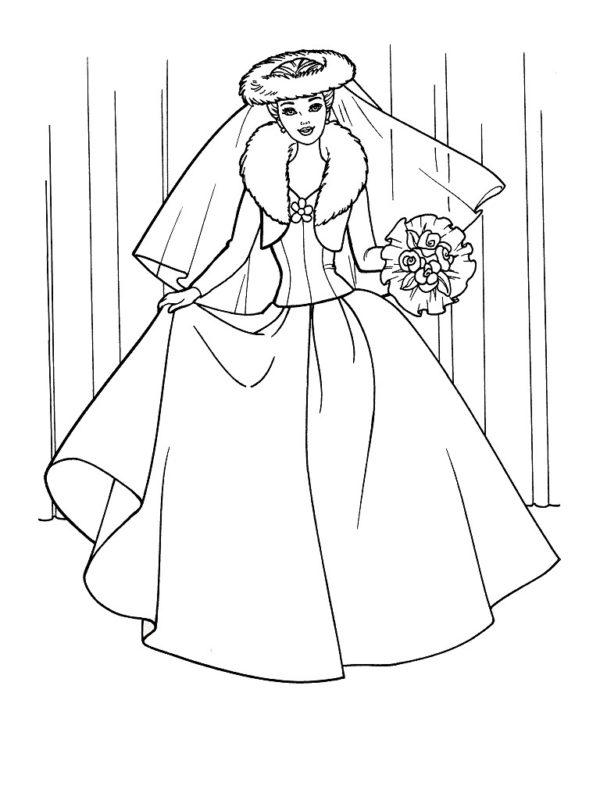раскраска Барби одежда свадебное платье скачать