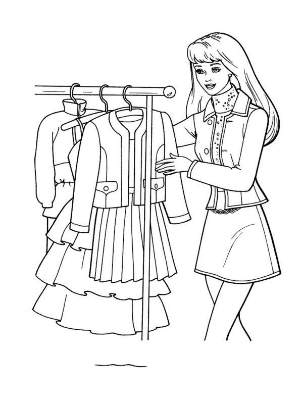 раскраска Барби одежда мода скачать