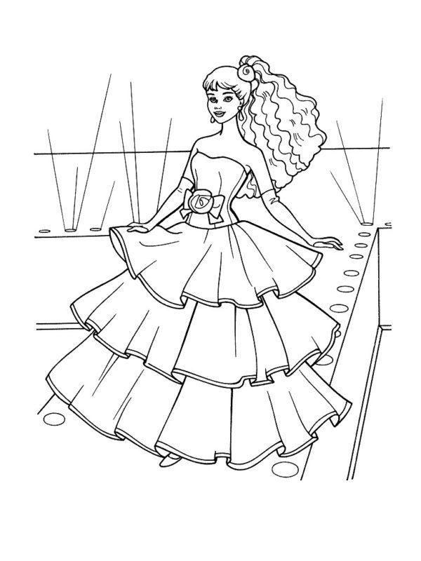 раскраска Барби одежда мода скачать бальное платье