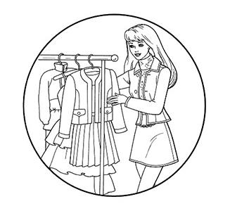 раскраски Барби модная одежда скачать