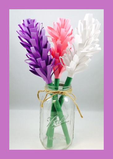 Гиацинты из цветной бумаги
